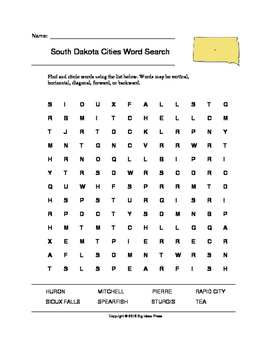 South Dakota Cities Word Search (Grades 3-5)