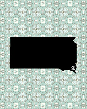 South Dakota Vintage State Map or Poster Class Decor Decoration