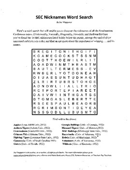 Southeastern Conference,SEC,Nicknames Word Search,Fun with