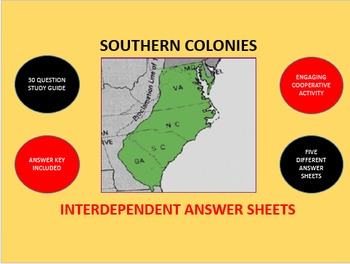 Southern Colonies: Interdependent Answer Sheets Activity