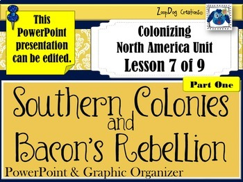 Southern Colonies Bacon's Rebellion PowerPoint and Graphic