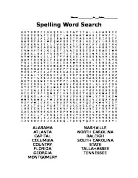 Southern States and Capitals Wordsearch