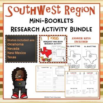 Southwest Region Bundle of 4 State Webquests Mini Book Res