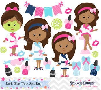Spa Day Clipart and Vectors Dark Skin Tones
