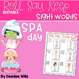 Spa Day Sight Words Roll, Say, Keep-Editable