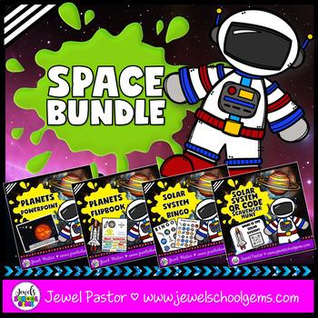 Space Activites BUNDLE (PowerPoint, Flipbook, Bingo and QR