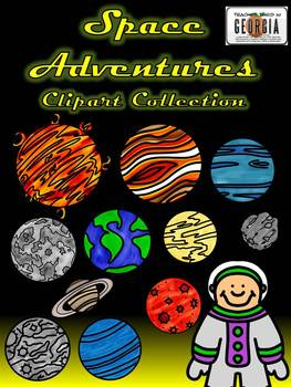 Space Adventures Clip Art Collection-24 Images Line/Color