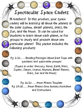 Space Cadets Planets Reading Passages