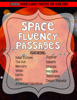 Outer Space Solar System Reading Fluency and Comprehension