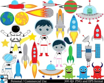 Space Kids Digital Clip Art Graphics Personal, Commercial