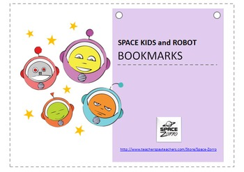 Space Kids and Robot BOOKMARKS