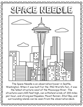 Space Needle Informational Text Coloring Page Activity or