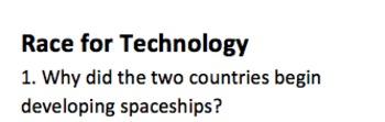 Space Race MC Quiz