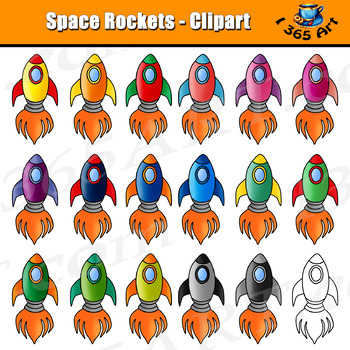 Space Rockets Clipart Set - 36 Files PNG & JPEG