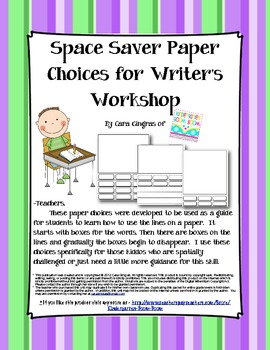 Space Saver Paper Choices for WW (good for OT, PT kiddos)