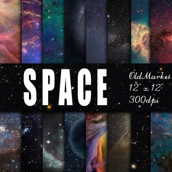 Space Textures - Digital Paper Pack - 16 Different Papers