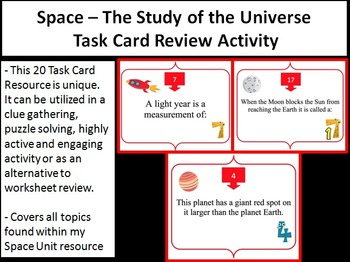 Space - The Study of the Universe Task Card REVIEW GAME -