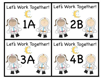 Space Theme Cooperative Learning Desk Tags