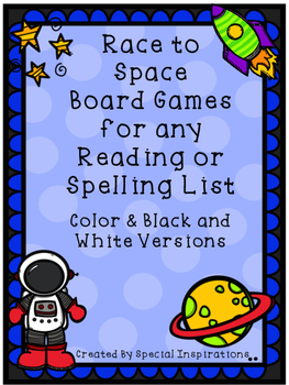 Space Themed Board Games to Practice any Reading or Spelling List