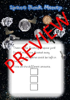 Space Topic - Space Junk Money Problems - editable