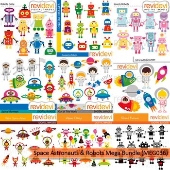 Space astronauts and robots clip art mega bundle (9 packs)