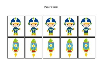 Space themed Pattern Cards #1 preschool printable activity
