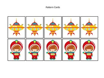 Space themed Pattern Cards #3 preschool printable activity
