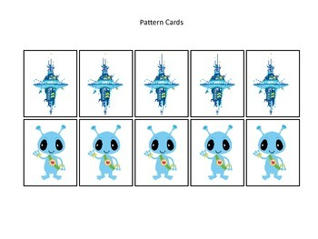Space themed Pattern Cards #4 preschool printable activity