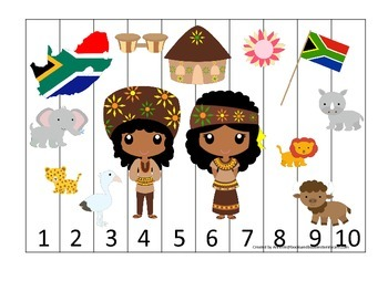 South Africa themed Number Sequence Puzzle preschool learn