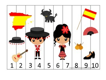 Spain themed Number Sequence Puzzle preschool learning gam