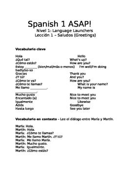 Spanish 1 ASAP!
