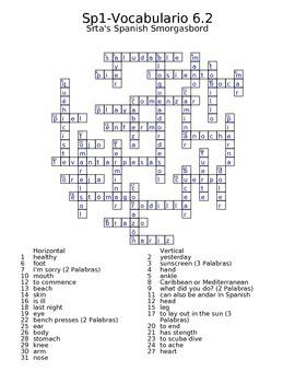 Spanish Avancemos 1 Vocab 6.2 Crossword