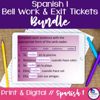 Spanish 1 Bell Work and Exit Tickets Bundle