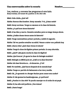 Spanish 1 Reading Comprehension: La Escuela