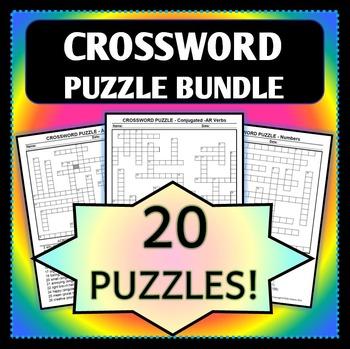 Spanish 1 - Crossword Bundle - 20 Puzzles! - Wide Variety