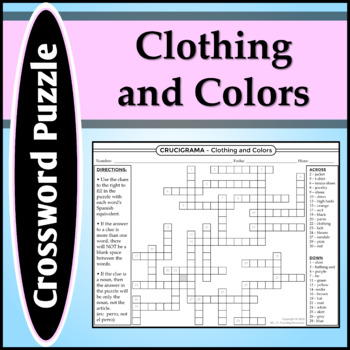 Spanish 1 - Crossword Puzzle for Colors, Clothing, and Sch