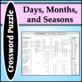 Spanish 1 - Crossword Puzzle for Months, Seasons, and Days