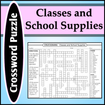 Spanish 1 - Crossword Puzzle for School-Related Vocabulary