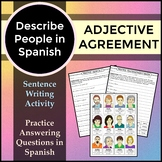 Spanish 1 - Describing People Writing Activity for Adjecti