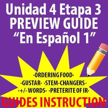 Spanish 1 - En Espanol 1 - Unidad 4 Etapa 3 Preview Guide