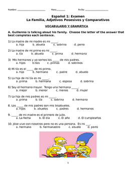 Spanish 1 Exam: Family Vocabulary, Possessive Adjectives a