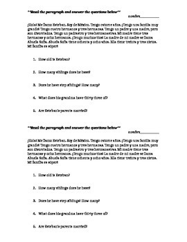 Spanish 1 Family Reading and Comprehension Questions
