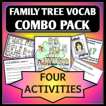 Spanish 1 - Family Tree and House Vocab Combo Pack - 4 Act