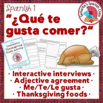 Spanish 1 - Interactive Thanksgiving (Dia de Accion de Gra