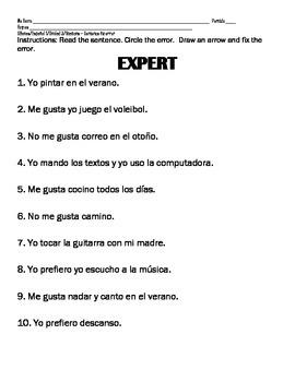 Spanish 1 LIKES & ACTIVITIES & SPORTS & WEATHER Fix error