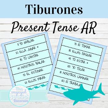 Spanish 1 Present Tense AR Verbs: Tiburones conjugation game