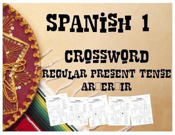 Spanish 1 - Reg. Present Tense Verbs (AR/ER/IR) CROSSWORD