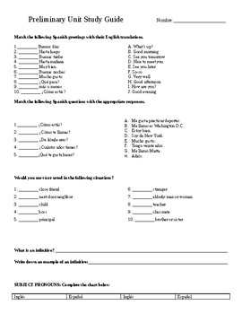 Spanish 1 Review Study Guide/Test Prep