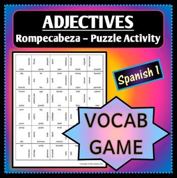 Spanish 1 - Rompecabeza Vocab Words Game/Activity - Adjectives