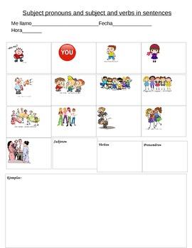 Spanish 1 Subject pronoun notes